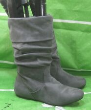 NEW LADIES Gray Flat Slouch Round Toe Mid-Calf Sexy Boot Size 7.5