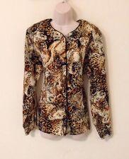 Woman's Button Down Shirt Size 16 By Jordan Woman Leopard Print Animal
