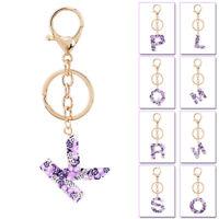 A-Z Alphabet Fashion Keyring Printing Bag Pendant Keychain Key Ring Holder