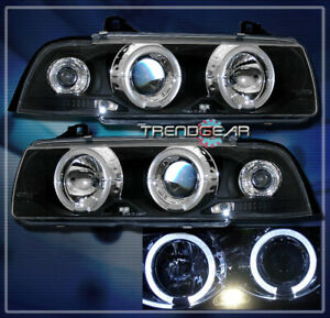 1992-1998 BMW E36 3-SERIES 2DR HALO LED PROJECTOR HEADLIGHT LAMP BLACK 1996 1997
