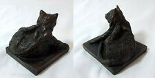 VINTAGE COLD CAST BRONZE CAT SCRATCHING ITSELF AND SIGNED M W PIERCE