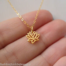 Tiny Lotus Necklace - 24K Gold Plate 925 Sterling Silver - Lotus Namaste Jewelry