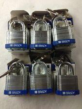 """LOT OF 6 Brady LOTO locks, Blue LOTO, Brady 99504, 3/4"""" Shackle Padlock, Steel"""