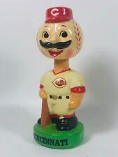 Vintage 1960's Ceramic Cincinnati Reds Bobblehead Nodder Green Base Baseball