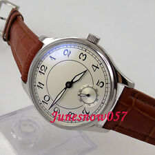 Parnis 44mm white dial Arabic numbers 17 jewels 6498 hand-winding men's watch 28