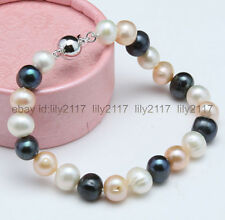 Natural 7-8mm White Pink Black Freshwater Pearl Bracelet 7.5 inch