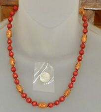 """HANDMADE Beaded NECKLACE Painted Oval & Round RED Wood Beads and Seedbeads 19"""""""