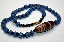 Afrika Halskette / African Necklace opal blau murano Perlen & alte bömische