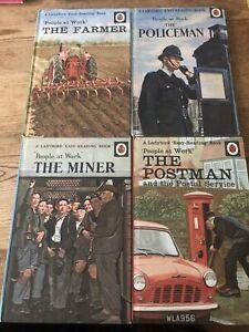 Bin 4 X Vintage ladybird books people at work Policeman Postman Miner And Farmer