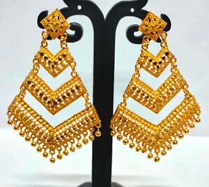 22K Gold Plated Indian Bollywood 7 CM Long Wedding Fashion Earrings Set ETFNS7