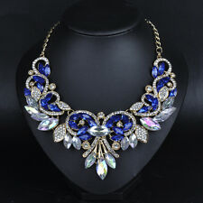 US SELLER SHIP FROM NYC blue/clear Gem rhinestone women fashion Bib Necklace
