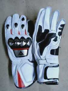 BLACK AND WHITE MOTOGP MOTORBIKE MOTORCYCLE COWHIDE LEATHER ARMOURED GLOVES