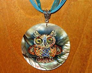 SHELL Pendant OWL BIRD signed Russian Hand Painted FUNKY White Lip Gorbachova