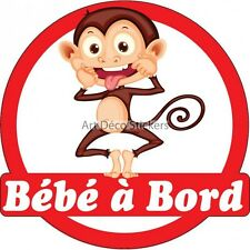 Decal Sticker vehicle car Baby à bord Monkey 16x16cm ref 3574 3574