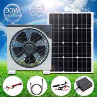 30W DC12V/5V 2 USB Solar Panel Solarzelle + 12'' DC Fan Ventilator für