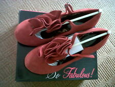 SO FABULOUS! RED GENUINE SUEDE HEELED T-BAR PUMPS