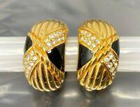Vintage Swarovski Swan Crystal Black enamel Gold tone Clip Earrings