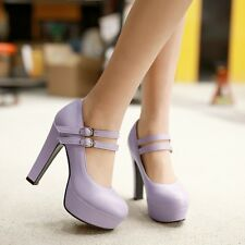 Womens High Heels Ankle Strap Platform Stiletto Mary Janes Bride Shoes All Size
