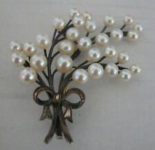 GORGEOUS VINTAGE BIG RUSSIAN PEARLS BROOCH