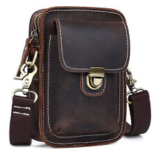 Mens Real Leather Fanny Pack Waist Leather Belt Bag Pouch small shoulder Bag
