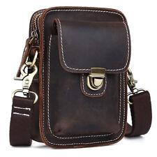 Mens Distressed Leather Fanny Pack Belt Waist Bag Small Pouch Shoulder Bag Strap