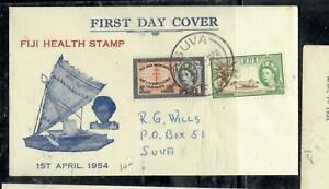 FIJI ISLANDS COVER (P0303B) 1954 QEII HEALTH SET  CACHETED FDC SUVA LOCAL
