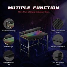 Computer Gaming Desk With LED Lights, Built-in Single Outlet Dual USB Charging