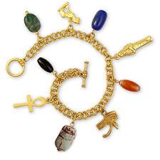 """Egyptian Amulet Bracelet, Bastet Cat, Eye Of Horus, Ankh & Scarab Charms 7.5"""" L"""