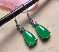 Beautiful Green Jade Water Drop Dropping Fashion Woman's Hook Earring Jewelry