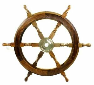 Pirate Boat Wooden Wheel (Brown_18 Inch X 18 Inch X 18 Inch) Free Shipping