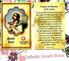 Saint St. Lucy  with Relic and Prayer - Relic Paperstock Holy Card