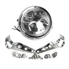 """6.5"""" Universal Motorcycle Chrome Metal LED Projector Daymaker Headlight +Bracket"""