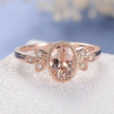 4Ct Oval Cut Simulnt Pink Morganite Diamond Engagement Ring Rose Gold Fns Silver