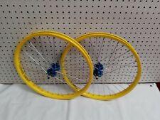 "20"" Old School Style Bmx Wheel Set Yellow/Blue  (Mongoose GT Haro CW Hutch)"