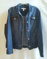 Womens Croft & Barrow Large Denim Jean Jacket Button Front Stretch Medium Wash