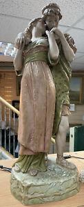 "Fantastic Pristine Big 23"" Royal Dux Double Figure Sheperd Sheperdess lovers"