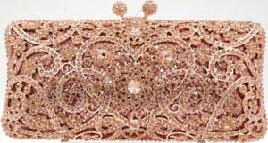 Evening luxury crystal clutch purse bag Event Bridal Pillow shape  Rose Gold