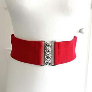 Red Stretchy Wide Statement Clip Belt Silver tone 1980s 90s Style Sz M