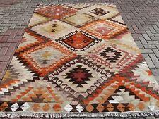 "Anatolian Turkish Antalya Barak Kilim Orange Color Floor Rug Carpet 74,4""x101,1"""