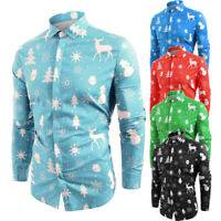 Men Snowflakes Christmas deer Print Slim Long Sleeve T Shirt Basic Top Blouse UK