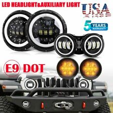 "7"" LED Headlight 4"" Fog Light Turn Signal Light w/Halo Ring fit Jeep Wrangler JK"