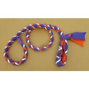 Handmade Dog Leash Fleece and Paracord Slip-Lead Purple over Orange w White