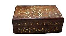 Floral Design Brass Inlay Decorative Box-Hinged