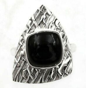 Natural Black Onyx - Brazil 925 Sterling Silver Ring Jewelry Sz 7 ED31-3