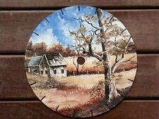 HANDPRINTED SIGNED FOLK ART ON SAWBLADE RUSTIC COUNTRY FARMLAND ART SCENE DECOR