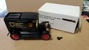 "ERTL 1913 Ford Model T Van Bank #9646 Armored Truck Services Black 6"" long w/key"