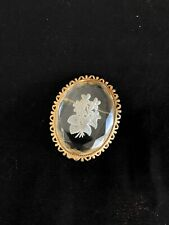 Vintage Etched Floral Glass Cameo Brooch