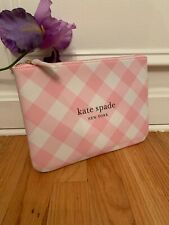 KATE SPADE NY Clutch Bag Wristlet Pink/White Checkered.  NEW