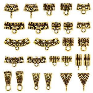 20PCS Gold Tone Bail Tube Beads Jewelry DIY Making Loose Spacer Bail Beads Charm
