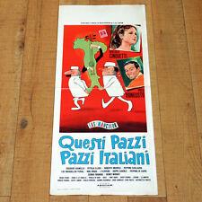 QUESTI PAZZI ITALIANI locandina poster Fred Bongusto Cinquetti Musica Corde J93